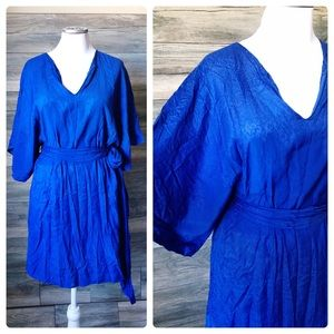 Zara royal blue kimono batwing sleeve mini dress